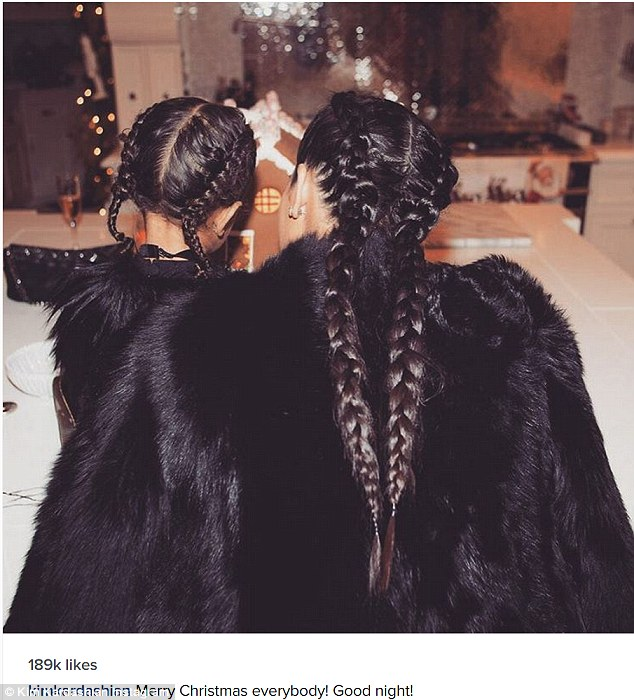 A new look: Kim and North wore braids for the event