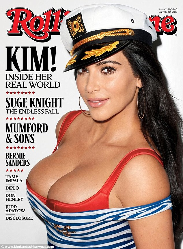 Well hello there sailor: Kim Kardashian has been looking back fondly on 2015. On Sunday the siren named her top magazine covers of the year. Included on the list was her July cover of Rolling Stone magazine
