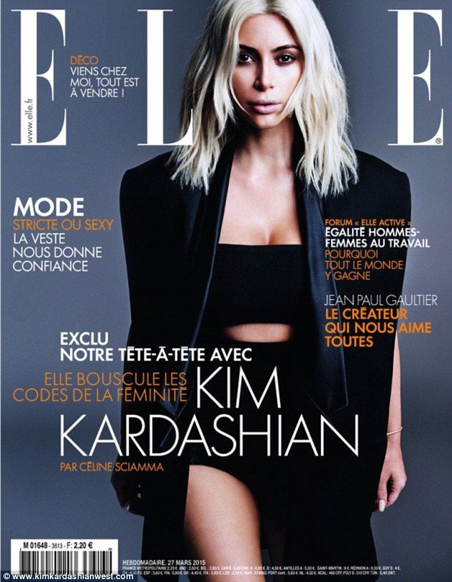 Diva: A blonde Kim followed for Elle France. She wore black and her cleavage and thigh can be seen. She said she was 'obsessed' with the look